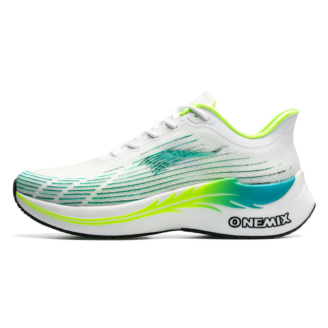 White/Green Lightning Men's Shoes ONEMIX Women's Workout Sneakers