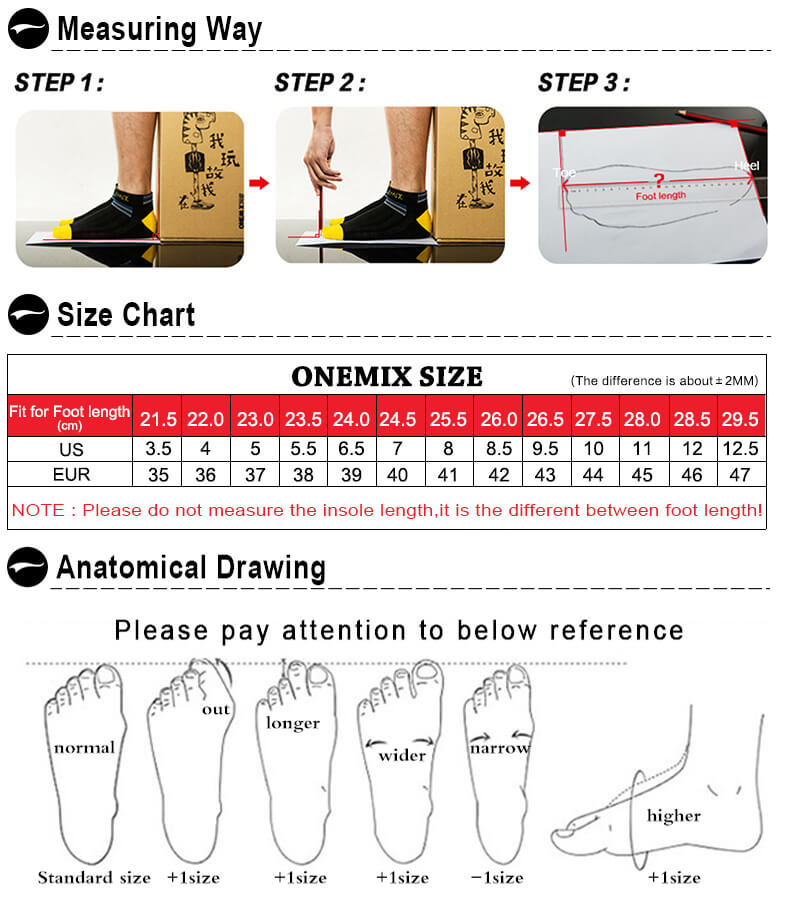 ONEMIX Shoes Size
